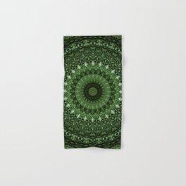 Mandala in olive green tones Hand & Bath Towel