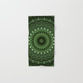 Mandala in olive green tones Hand & Bath Towel