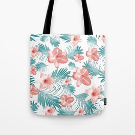 Tropical Flowers Palm Leaves Finesse #2 #tropical #decor #art #society6 Tote Bag