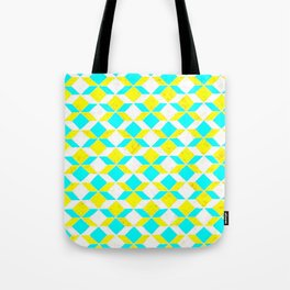 Turquoise & Yellow Diamonds Inverted Tote Bag