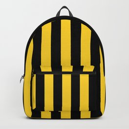 Yellow and Black Honey Bee Vertical Beach Hut Stripes Backpack