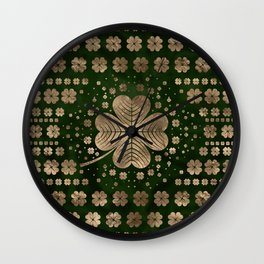 Golden Irish Shamrock Four-leaf clover Wall Clock