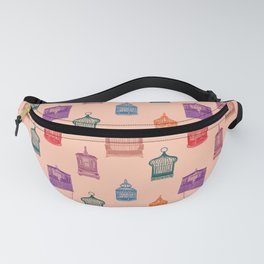 Bird Cages on an Orange Background Fanny Pack