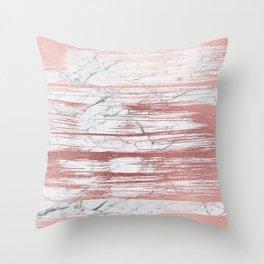 Elegant faux rose gold brushstrokes gray marble Throw Pillow