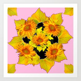 Golden Sunflowers & Leaves Pink-Black Patterns Art Print