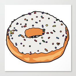 White Frosted Donut Canvas Print