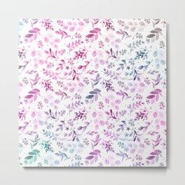 Modern pink lavender teal watercolor botanical floral Metal Print