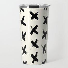 Black X on Ivory Travel Mug
