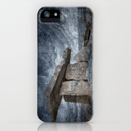 Poulnabrone Dolmen - Blue Winter Grunge iPhone Case