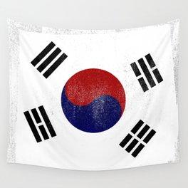 South Korean Distressed Halftone Denim Flag Wall Tapestry