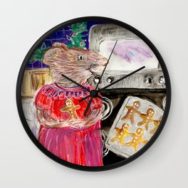 Miss Mouse Baking Holiday Cookies Wall Clock