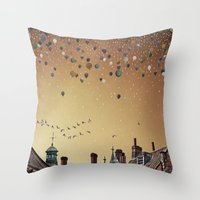 fitzgerald Throw Pillows featuring Innumerable wandering balloons by Emma Fitzgerald