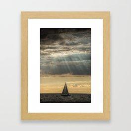 Sailboat Sailing in Lake Michigan beneath Sunbeams Framed Art Print