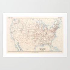 1926 U.S. Highway System Map Art Print