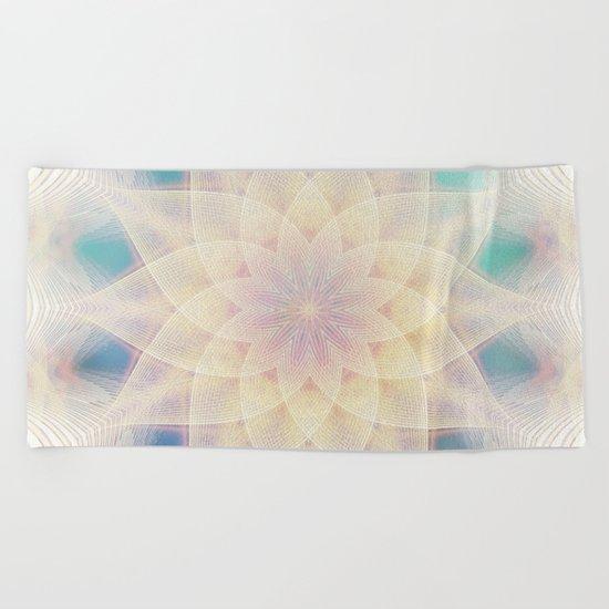 Water Lily Mandala Beach Towel
