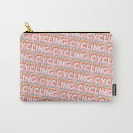 Cycling Trendy Rainbow Text Pattern (Pink) Carry-All Pouch