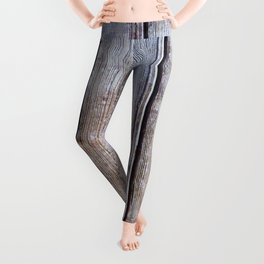 Old Fence Planks With Rust, Wood Decor Leggings
