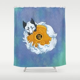 Lucky fox coin (white/blue) Shower Curtain