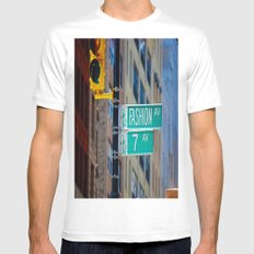 Fashion Avenue  White MEDIUM Mens Fitted Tee