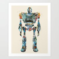 iron giant Art Prints featuring modern iron giant by bri.buckley