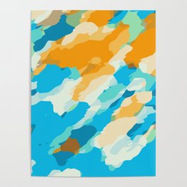 blue orange and brown dirty painting abstract background Poster