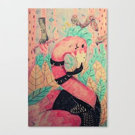 pink punk flamingo Canvas Print