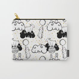 Cute vector seamless pattern of animals children, rabbits, sheep, balls and clouds and golden stars Carry-All Pouch
