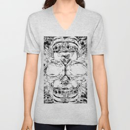 psychedelic skull art geometric triangle abstract pattern in black and white Unisex V-Neck