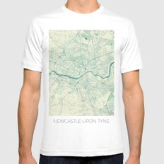 Newcastle upon Tyne Blue Vintage LARGE Mens Fitted Tee White