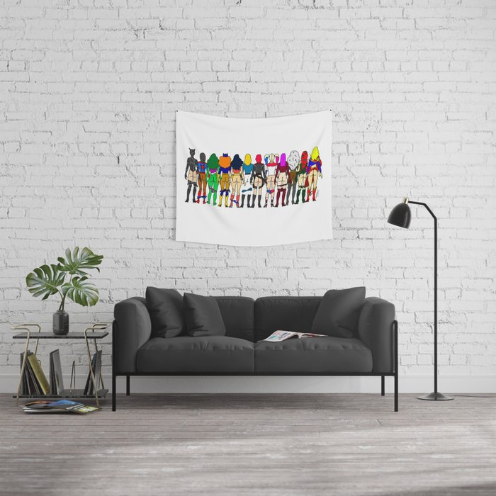 Superhero Butts - Girls - Row Version - Superheroine Wall Tapestry