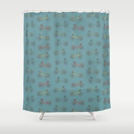summer bicycles blue Shower Curtain