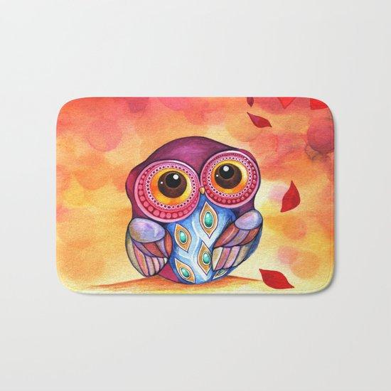 Owl's First Fall Leaf Bath Mat