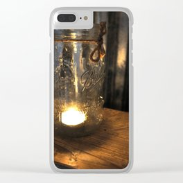 Candle in Mason Jar Clear iPhone Case
