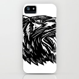 Growling Tiger Woodcut Black and White iPhone Case