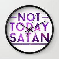 rupaul Wall Clocks featuring NOT TODAY SATAN by GLAMAZON