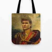 replaceface Tote Bags featuring Patrick Swayze - replaceface by replaceface