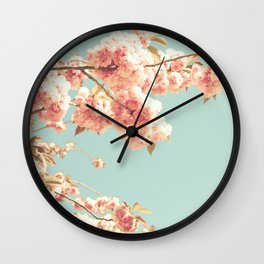 Pink cherry blossoms over mint sky Wall Clock