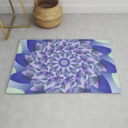 Ever Expanding Mandala in Blue and Purple Rug
