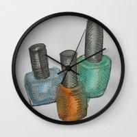 nail polish Wall Clocks featuring Nail Polish Bottles by Brodie Fairall