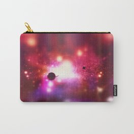 An outer space theme with planets, sky and stars.  Carry-All Pouch