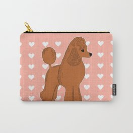 Red Apricot Poodle with Peach Pink & Hearts Carry-All Pouch