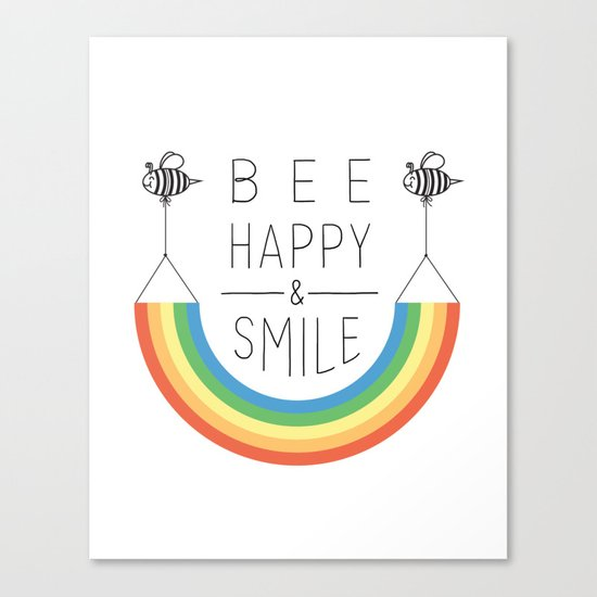 Bee Happy and Smile Canvas Print