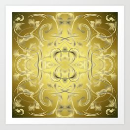 silver and gold Digital pattern with circles and fractals artfully colored design for house Art Print