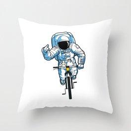 Astronaut Bike MTB Mountainbike Universe Space Throw Pillow