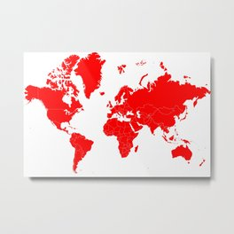 Minimalist World Map Red on White Background Metal Print