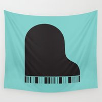 piano Wall Tapestries featuring Piano by Tony Vazquez
