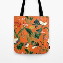 Vintage wild flowers orange Tote Bag