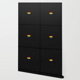 Pixel Love (rainbow square heart on black) Wallpaper