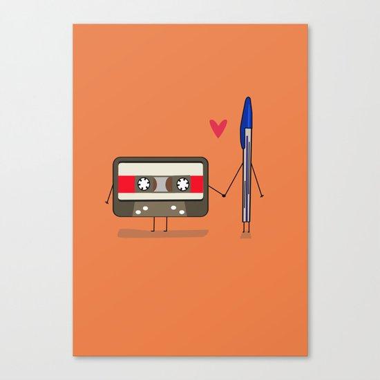 Love: cassette and pen Canvas Print