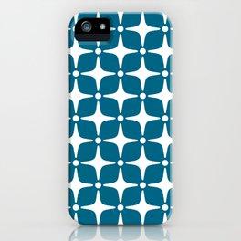 Mid Century Modern Star Pattern Peacock Blue 2 iPhone Case